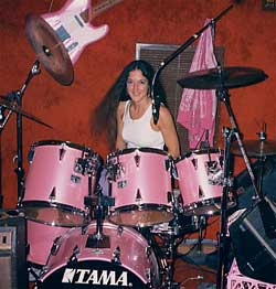 Anne on drums